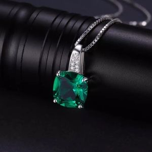 Emerald Pendant 3ct.  with Silver Chain